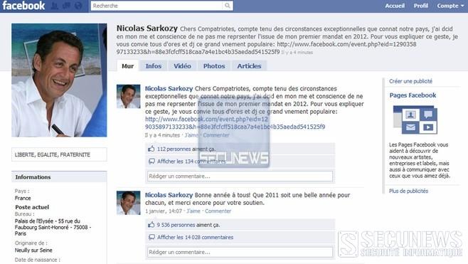 Le compte Facebook de Sarkozy briévement piraté