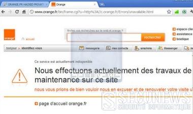 Le site Internet de la boutique d'Orange.fr à été piraté
