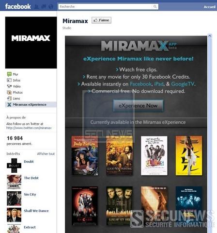 Aprés la warner, Miramax test la location de films sur Facebook
