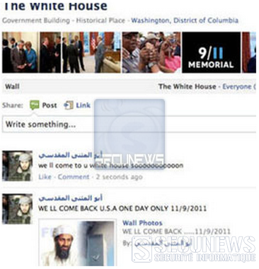 Les usa menacés via la page Facebook de la Maison-Blanche