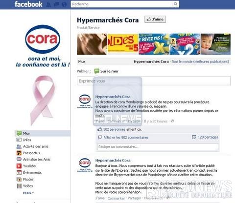 Une caissiére de Cora évite le licenciement gr'ce aux réseaux sociaux