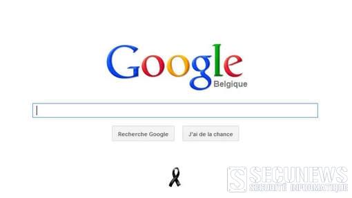 Google.be s'associe au deuil national belge