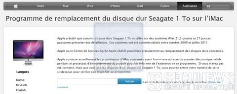 Apple procéde au rappel mondial de certains disques durs d'iMac