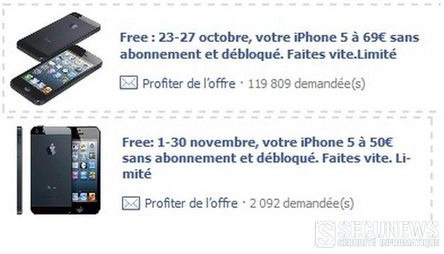 Une arnaque sur Facebook propose L'iphone 5 à 69 ou 50 euros