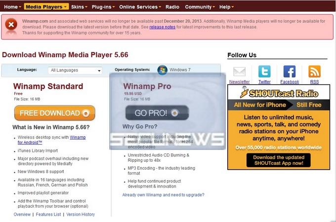 La mort du lecteur Winamp prévue le 20 décembre 2013