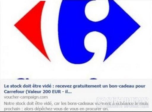 Non, Carrefour ne vous offre pas des bons de 200 euros via Facebook