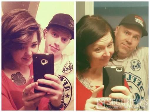 Des parents s'amusent du selfie de leur fils