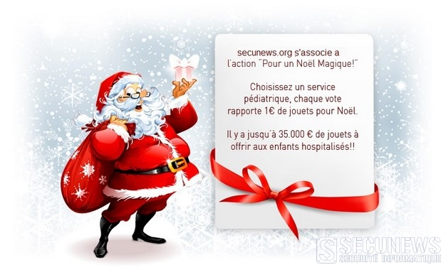 Tous ensemble pour un Noël magique pour les enfants à l'hôpital (BE-FR-Lux), 1 vote = 1 euro de jouets