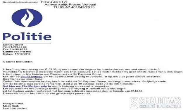 Un faux PV de la Police belge vous informant d'une infraction de roulage