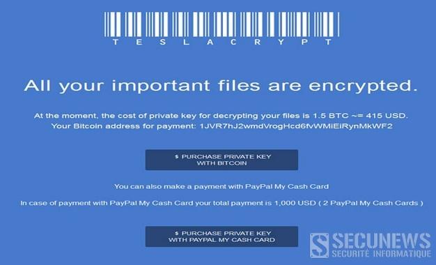 TeslaCrypt un ransomware qui cible les fichiers de jeux en ligne