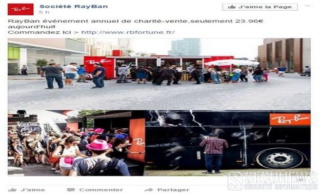Attention a l'arnaque des Ray-Ban à 24 euros sur Facebook