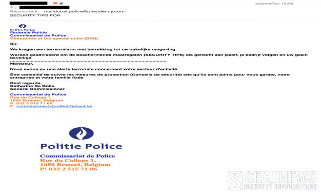 La police fédérale belge  met en garde contre un faux mail d'alerte au terrorisme