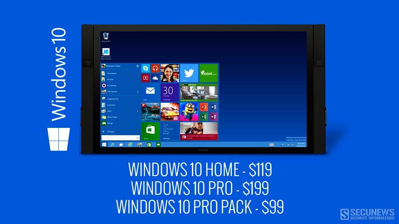 Windows 10 deviendra payant le 29 juillet 2016