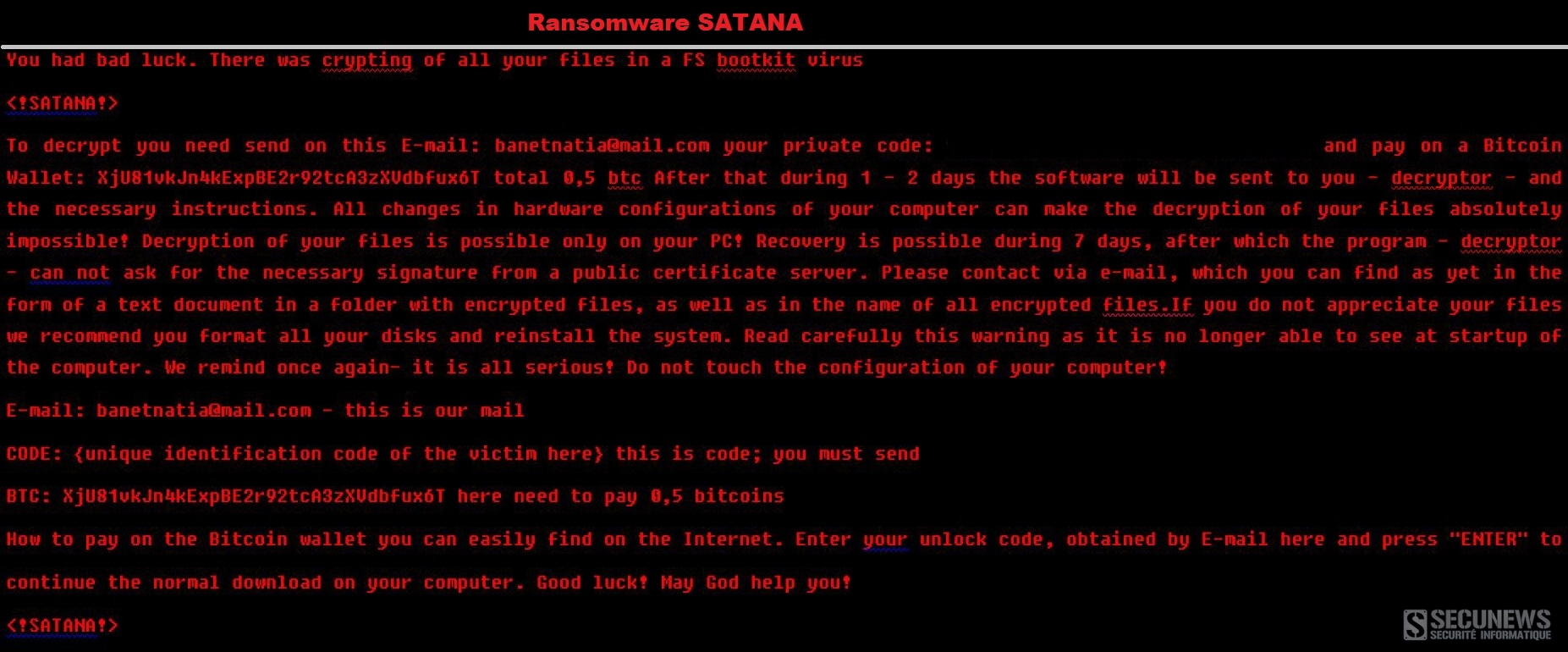 Satana est à la fois un ransomware à chiffrement et un bootlocker