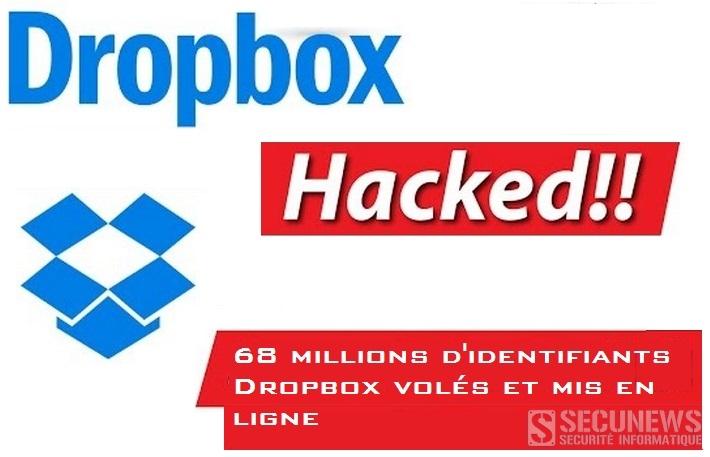 68 millions d'identifiants Dropbox volés et mis en ligne