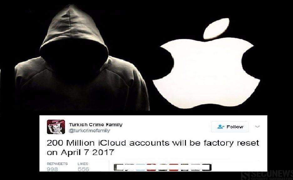 Des Hackers menacent d'effacer 250 millions de comptes d'utilisateurs d'Apple le 7 avril 2017