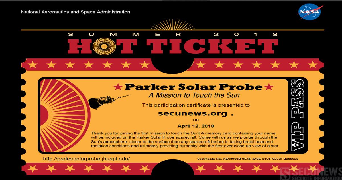 La NASA vous donne la possibilité d'associer votre nom à une mission inédite vers le Soleil !