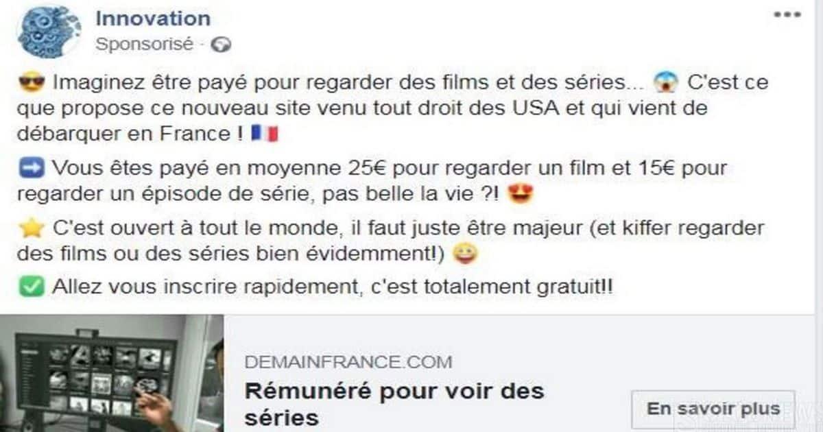 Être payé pour regarder des films ou des séries»… La nouvelle arnaque qui sévit sur Facebook